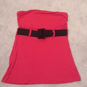 Strapless top with decorative belt